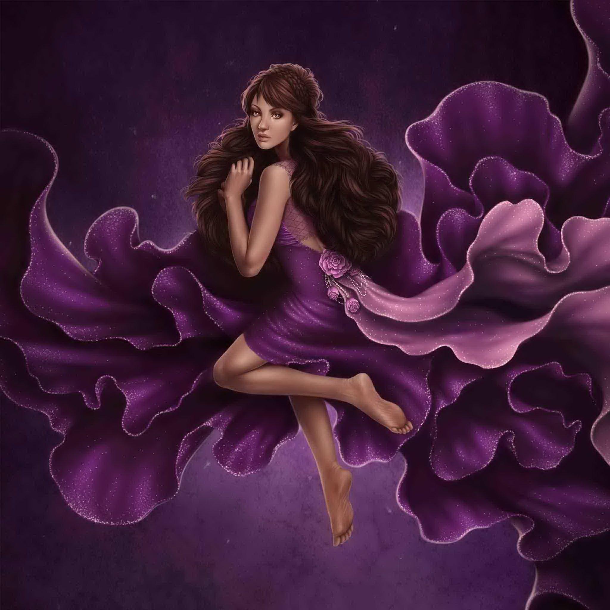 紫色震撼风景卡通